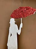 Топпер силуэт девушки с красным зонтиком, девушка с зонтиком на торт, девушка украшение для торта, фото 4