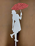 Топпер силуэт девушки с красным зонтиком, девушка с зонтиком на торт, девушка украшение для торта, фото 5