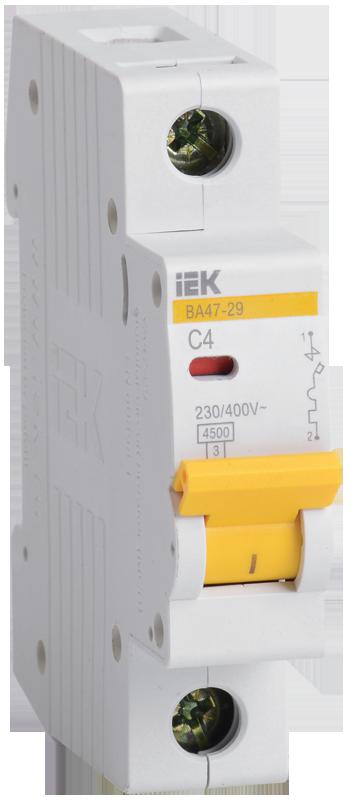 Автоматический выключатель ВА47-29 1P 4A 4,5кА х-ка C (MVA20-1-004-C) IEK