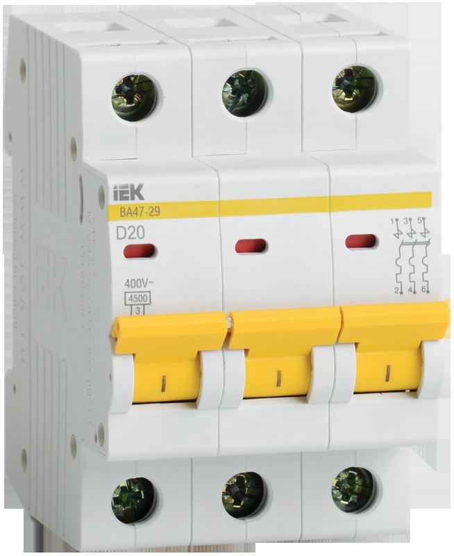 Автоматический выключатель ВА47-29 3P 20A 4,5кА х-ка D (MVA20-3-020-D) IEK
