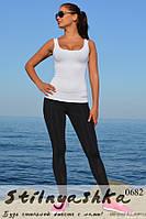 Костюм для фитнеса майка белая с легинсами, фото 1