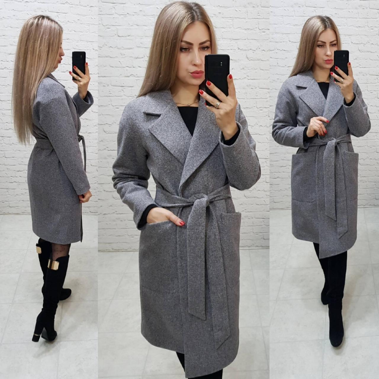 Утеплённое кашемировое пальто на запах с карманами,арт 175, цвет серый (8)