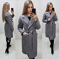 Утеплённое кашемировое пальто на запах с карманами,арт 175, цвет серый (8), фото 1