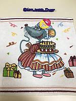 Новогоднее махровое полотенце  салфетка  символ года , Мышка  мама Кондитер  35*35 см
