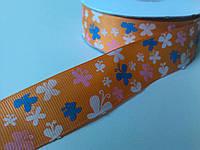Лента репсовая бабочки оранжевая 25 мм метр