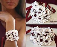 """""""Бело-бордовые фрезии"""" браслет на руку с цветами из полимерной глины. Браслет для невесты или свидетельницы, фото 1"""