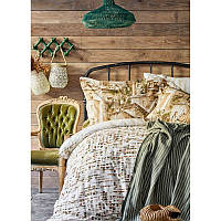 Набор постельное белье с пледом Karaca Home - Vella yesil 2020-1 зеленый евро
