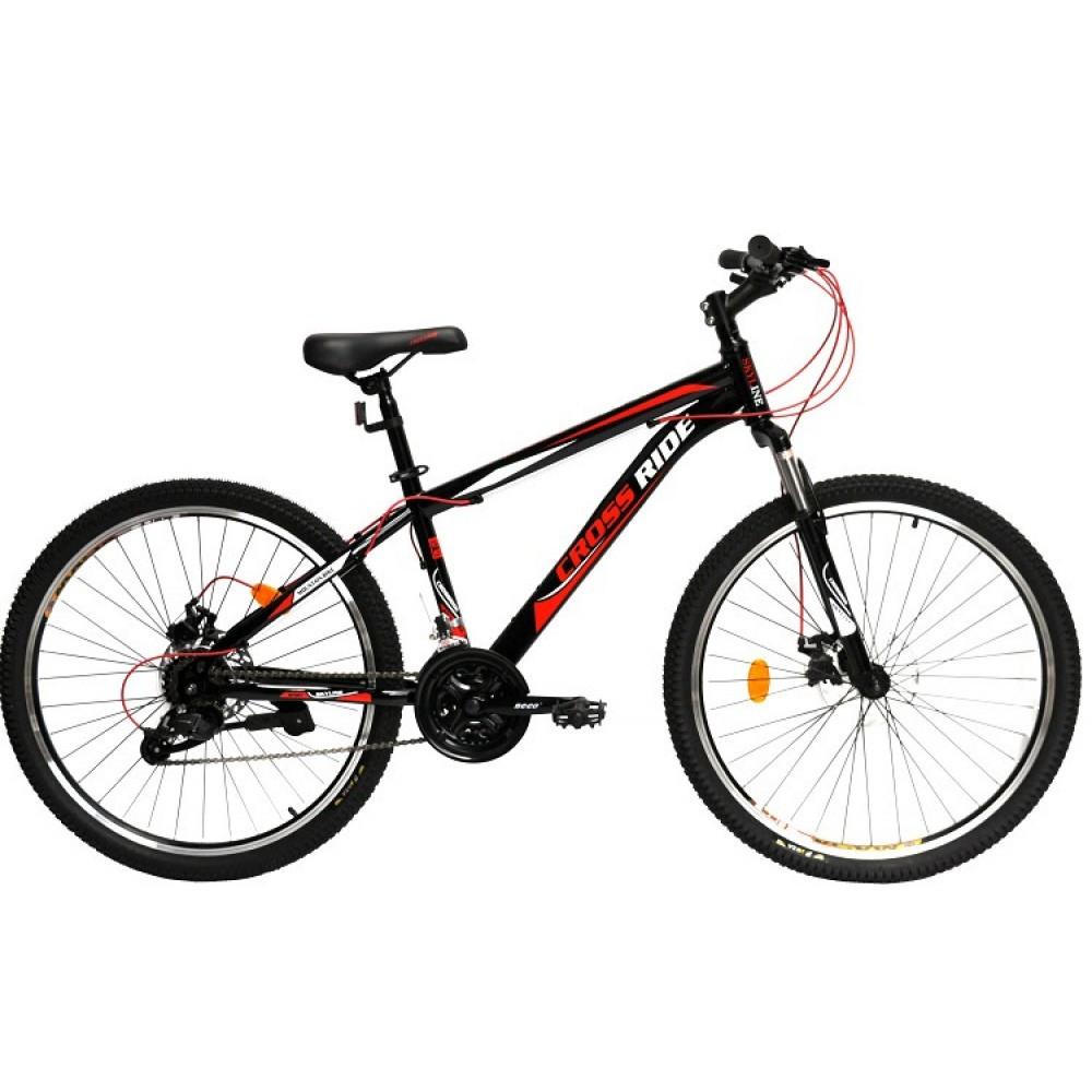 """Горный велосипед Crossride SKYLINE R26"""" с дисковыми тормозами (Черно-красный)"""