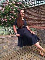 Стильное офисное платье размер 44,46,48,50 т.синее, фото 1