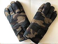 Перчатки флисовые утепленные камуфляж бурый