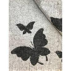 Плед Хлопковый 140X200 VLADI Бабочки Бело-серый, Темно-серый, Беж, фото 3