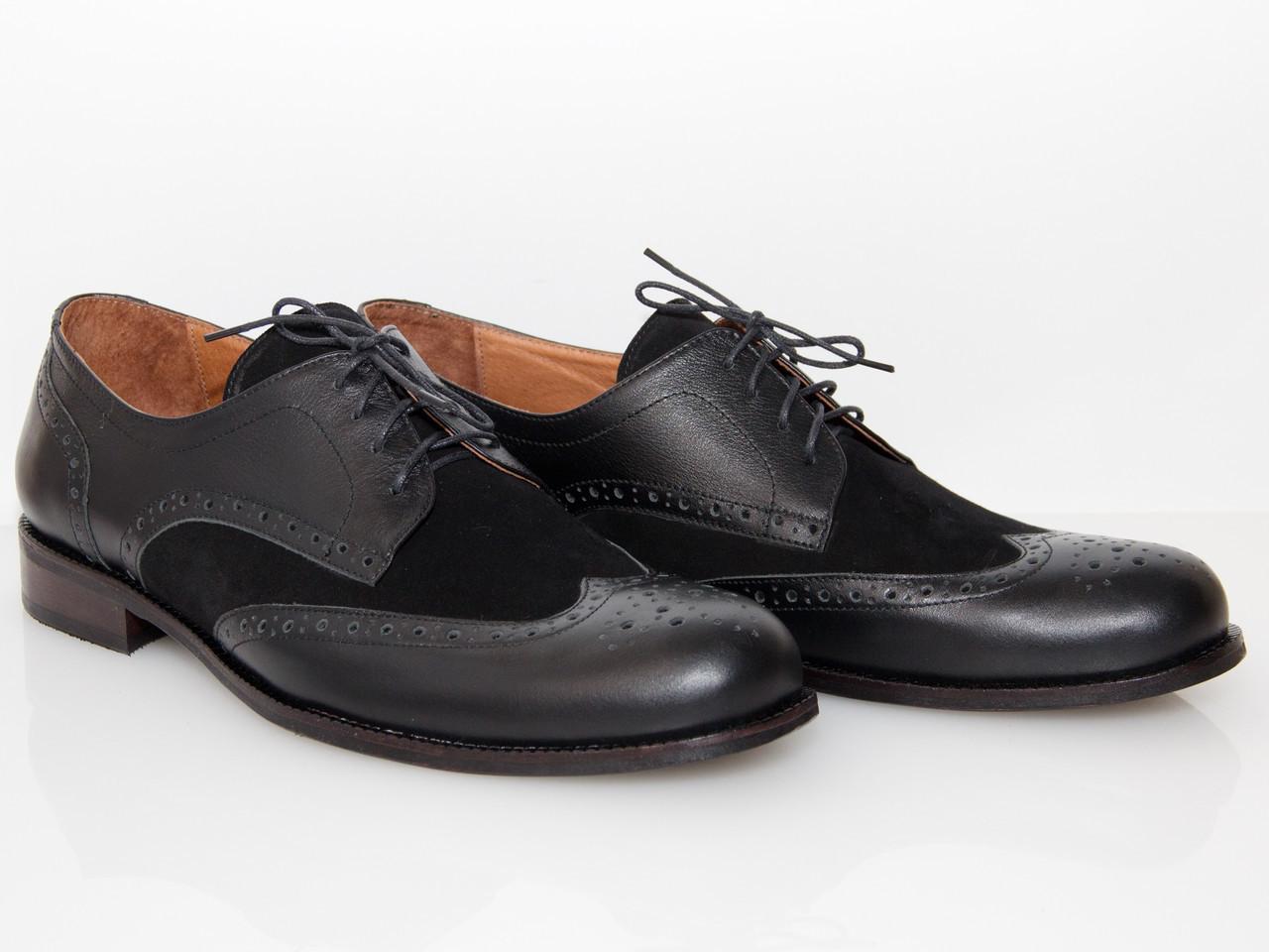 Черные туфли с замшевой вставкой/ man shoes 12305