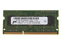 Оперативная память 2 ГБ 1RX8 DDR3 1333 МГц PC3-10600 204PIN Micron Для ноутбука
