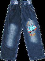 Детские джинсы с трикотажным поясом и резинкой-регулятором, с вышивкой, ТМ Ромашка+, р. 98, 104, 116, Турция