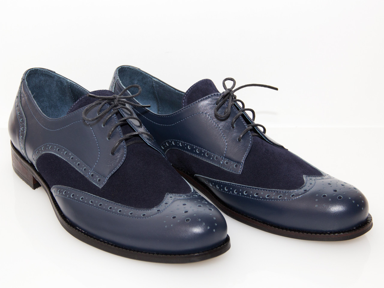 Туфли кожаные Oscar Fur 12006 Темно-синий