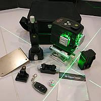 Лазерный уровень DEKO 3D 12линий ЗЕЛЕНЫЙ ЛУЧ + ПУЛЬТ! нивелир 12 линий Лазерний рівень Деко 3д