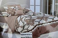 Двуспальное постельное белье Koloco бело-коричневое