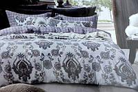 Двуспальное постельное белье Koloco бело-серое