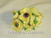Цветочки тканевые Маки 4см (6шт), фото 1
