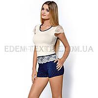 Пижама с шортами из вискозы Hamana Roxy, Синий, S