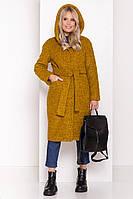Зимнее женское пальто из ткани букле