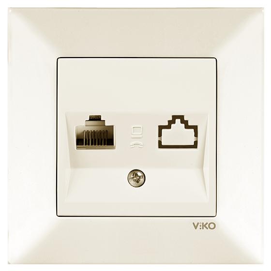 Розетка компьютерная, Крем Meridian (90970232-WH) VI-KO