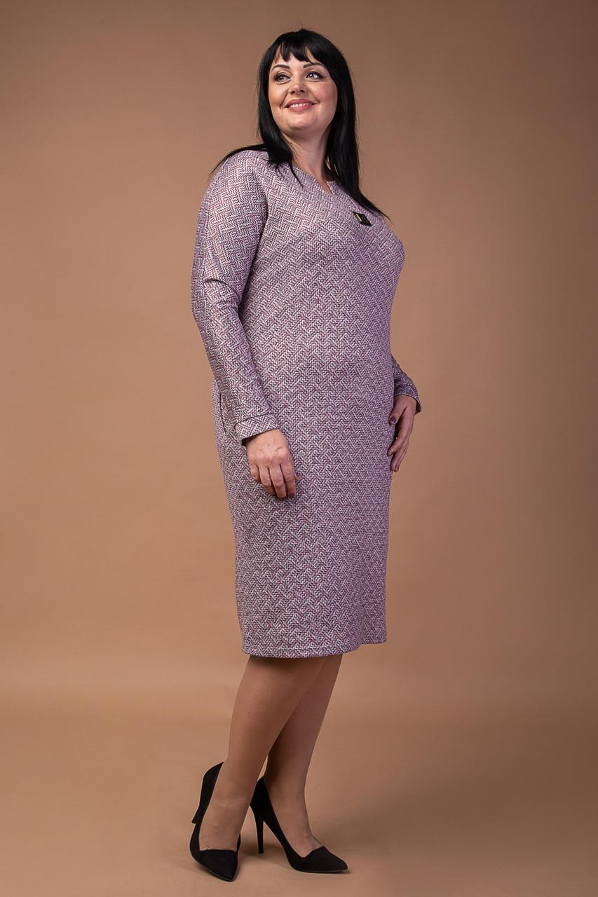 Ангоровое женское платье с узором серо-бордовое