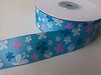Лента репсовая бабочки голубая 25 мм 1 метр