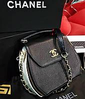 Женская брендовая кожаная сумка (Чёрная с белым) Original quality(зеркальная реплика)