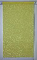 Готовые рулонные шторы 350*1500 Ткань Акант 116 Оливковый