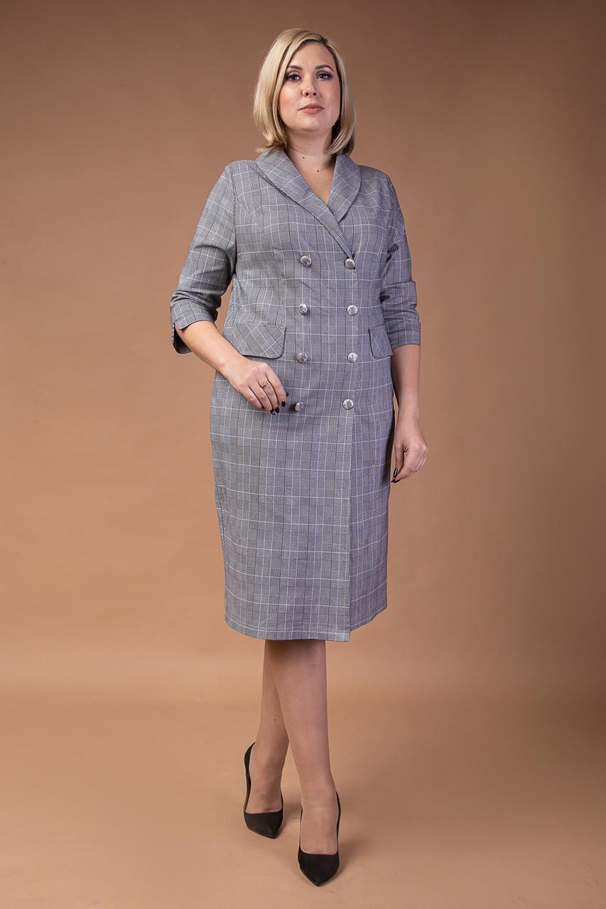 Женское платье в деловом стиле серое
