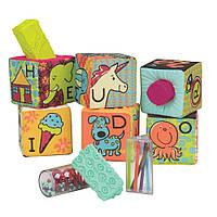 Развивающие мягкие кубики-сортеры ABC (6 кубиков, в сумочке, мягкие цвета), фото 1