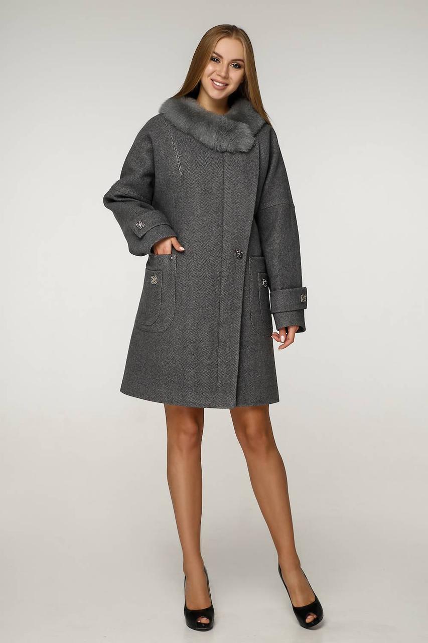 Зимове жіноче пальто прямого крою з хутром П-1219 н/м Шерсть пальтовая W7-18145 Тон 25