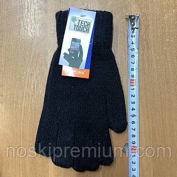 Перчатки унисекс шерстяные одинарные с начёсом Tech Touch Корона, для смартфонов, чёрные, 8125