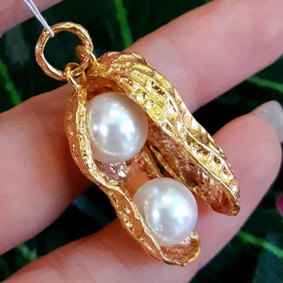 Серебряный кулон с позолотой Арахис - Брендовая серебряная подвеска с жемчугом Арахис