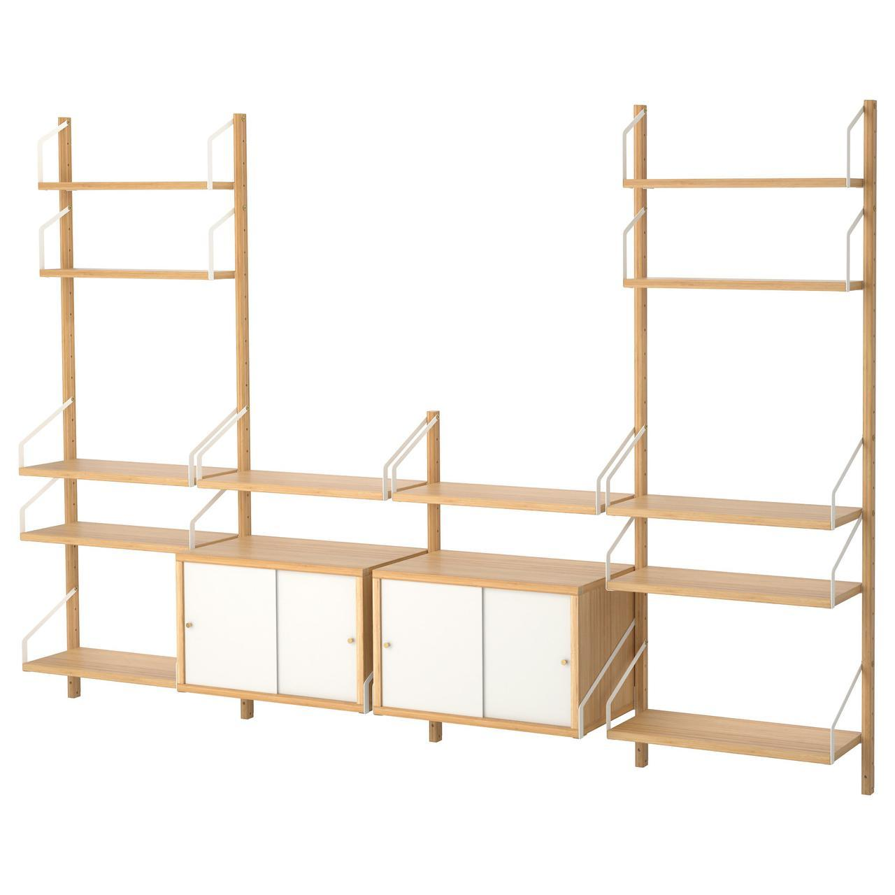 ✅ IKEA SVALNAS (091.844.67) Сочетание висячих шкафов, бамбука, белого цвета