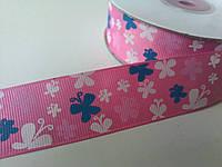 Лента репсовая бабочки розовая 25 мм 1 метр