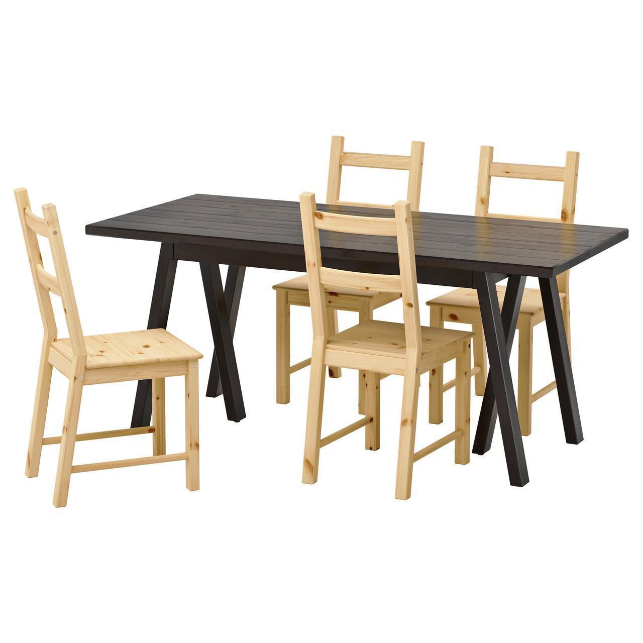 ✅ IKEA RYGGESTAD/GREBBESTAD / IVAR (792.298.20) Стол и 4 стула, черный, сосна