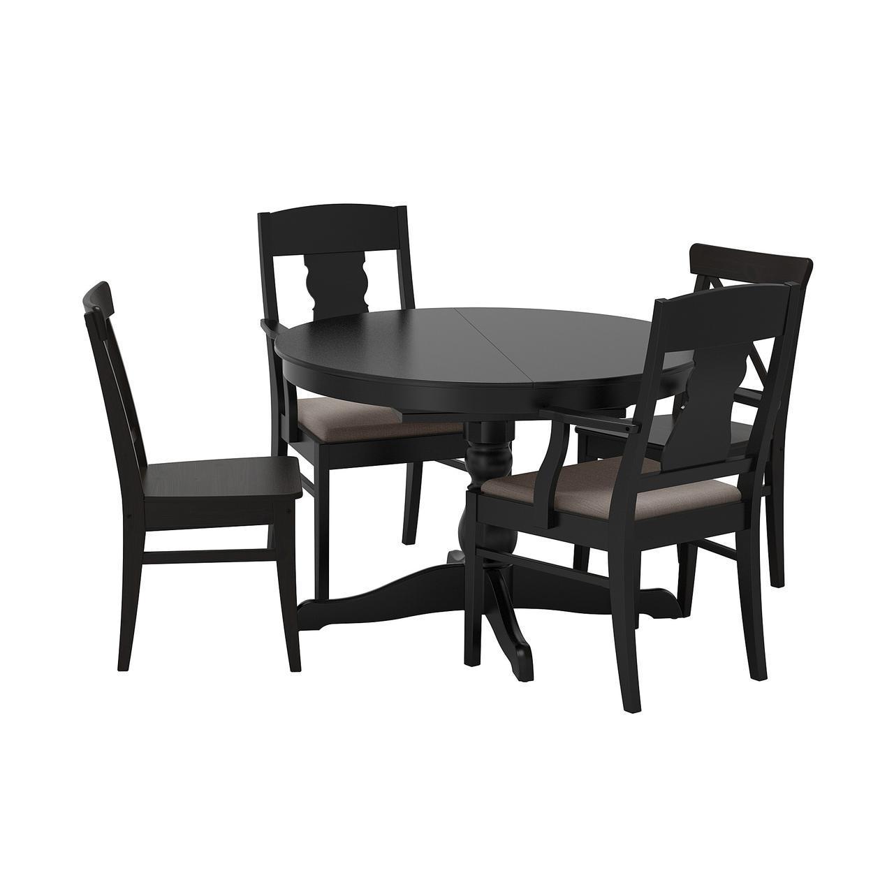 ✅ IKEA INGATORP / INGOLF (592.541.70) Стол и 4 стула, черный, Nolhaga серый/без