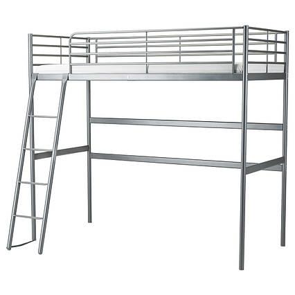 ✅ IKEA SVARTA (202.479.82) Кровать-чердак, серебристый