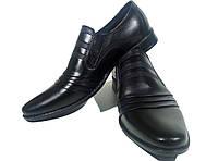 Туфли мужские классические  натуральная кожа черные на резинке (КЛ)