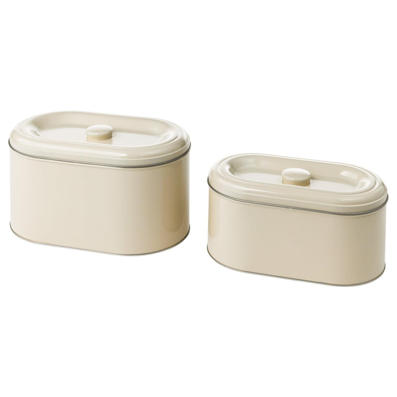 ✅ IKEA BEROMLIG (003.332.64) Металлический контейнер. с крышкой, 2 шт.,