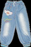 Детские джинсы с трикотажным поясом и манжетами на калошах, с вышивкой, ТМ Ромашка+, р. 116, Турция