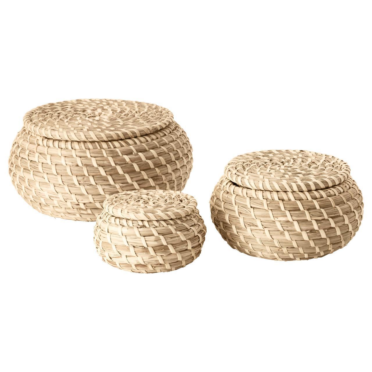 ✅ IKEA FRYKEN (803.281.45) Коробка с крышкой, 3 шт., Трава морской травы