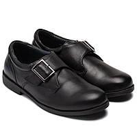 Кожаные школьные туфли Antilopa для мальчиков, на липучке, размер 32-37