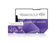 Карта памяти MicroSDXC 64GB UHS-I Team Color + SD-adapter Purple (TCUSDX64GUHS41)