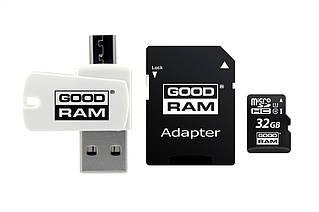 Карта памяти MicroSDHC 32GB UHS-I Class 10 GOODRAM + SD-adapter + OTG Card reader (M1A4-0320R12)