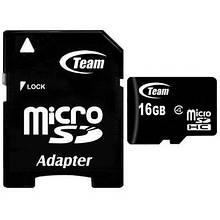 Карта памяти MicroSDHC 16GB Class 4 Team + SD-adapter (TUSDH16GCL403)