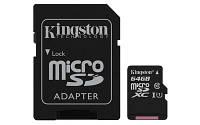 Карта памяти MicroSDXC 64GB UHS-I Class 10 Kingston Canvas Select + SD-адаптер (SDCS/64GB)
