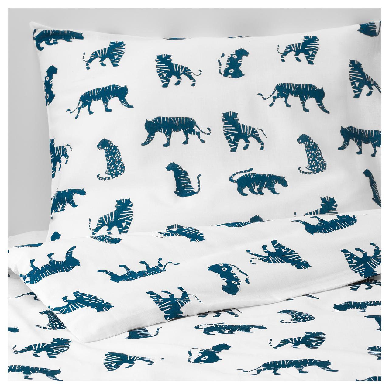 ✅ IKEA URSKOG (003.950.25) Комплект постельного белья, тигр, синий
